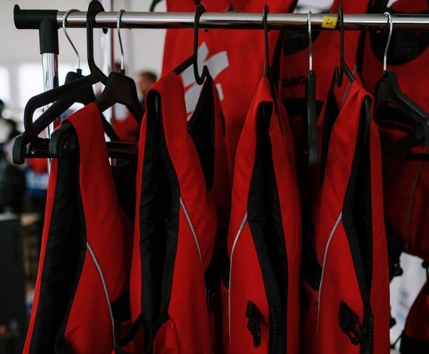 Life Jackets and PFDs Hanging Up