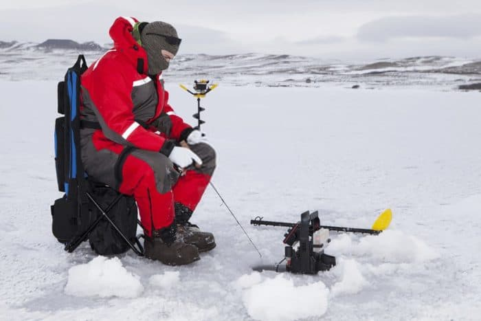 Ice Fishing with portable fish finder