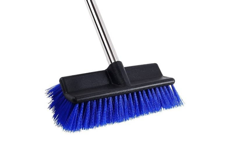 MEIBEI Deck Brush, Heavy Duty Deck Scrubber with Adjustable Stainless Steel Long Handle