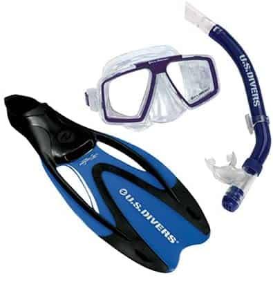 U.S. Divers Cozumel Seabreeze Dry Proflex II Mask, Fins and Snorkel Set