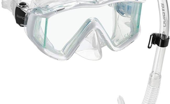 Phantom Aquatics Three Window Tempered Glass Dry Snorkel Set