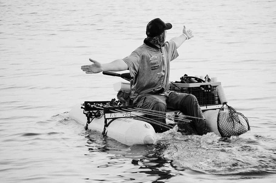 Man Float Tube Water