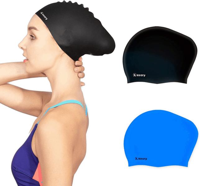 Best Long Hair Swim Cap Keary Silicone Swim Cap 2-Pack