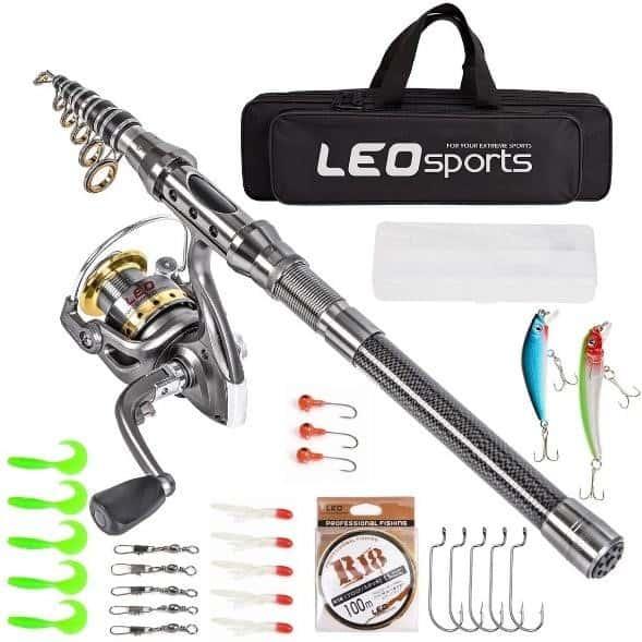 Leo Telescopic Fishing Rod and Reel Combo