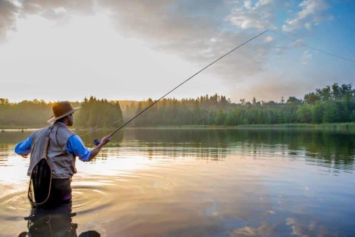 Fishing in sun hat